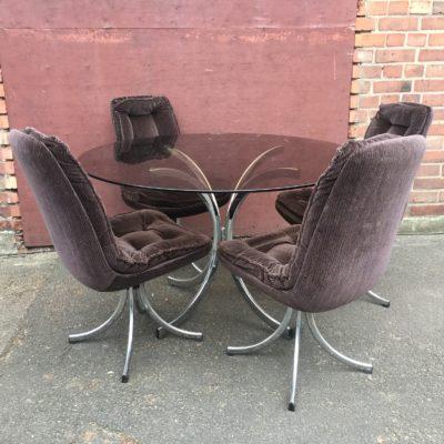 """Glastisch Sessel Kombination 70er Jahre """" Mister James Bond"""""""